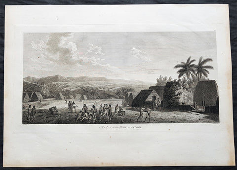 1784 Cook & Webber Large Antique Print of a Village on Kauai Island, Hawaii - Ist Edition