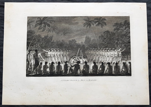 1784 Cook & Webber Large 1st Edition Antique Print Men Dancing Lifuka Isle Tonga