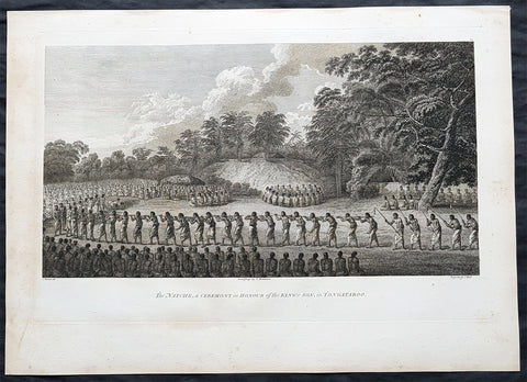 1784 Cook & Webber Large 1st Edition Antique Print of Inasi Ceremony Mu'a, Tonga