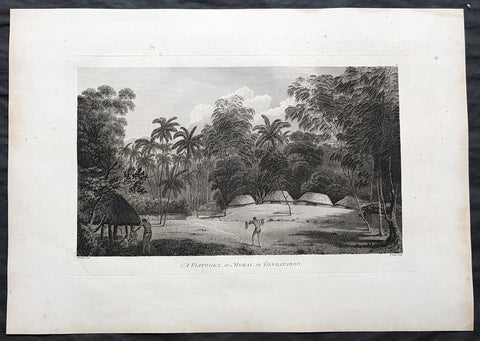 1784 Cook & Webber Large 1st Edition Antique Print Burial Mounds or Langi, Tonga