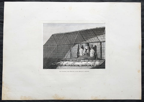 1784 Cook, Webber Large Antique Print interior Morai Temple on Kauai Isle Hawaii