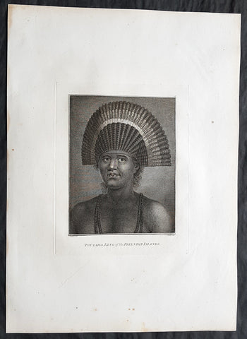 1784 Cook & Webber Large 1st Edition Antique Portrait of Poulaho King of Tonga
