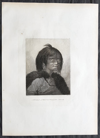 1784 Cook & Webber Large Antique Portrait Woman of Prince William Sound, Alaska