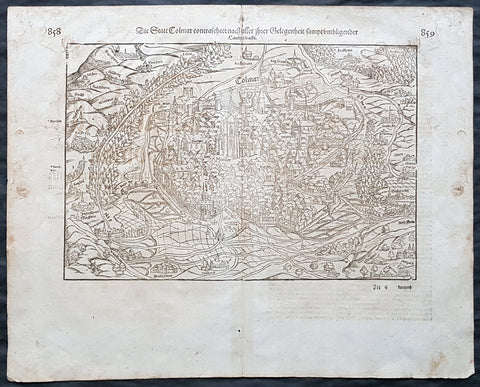 1588 Sebastian Munster Antique Print View of Comar, in Alsace region of France