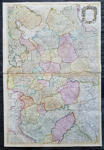 1712 Senex Large Original Antique Map of Europe Russia, Moscow - Finland to Azov