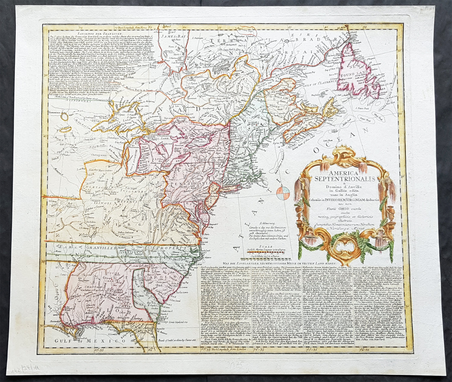 1756 Homann 1st Ed Antique Map of United States of America - French on railroad maps in us, flowers in us, states maps in us, stats in us, florida maps in us,