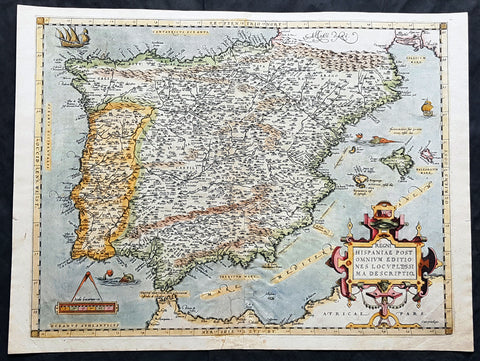 1574 Abraham Ortelius Antique Map of Spain & Portugal