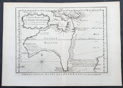 1753 Jacques Nicolas Bellin Antique Map of Australia & New Zealand, Pre Captain Cook