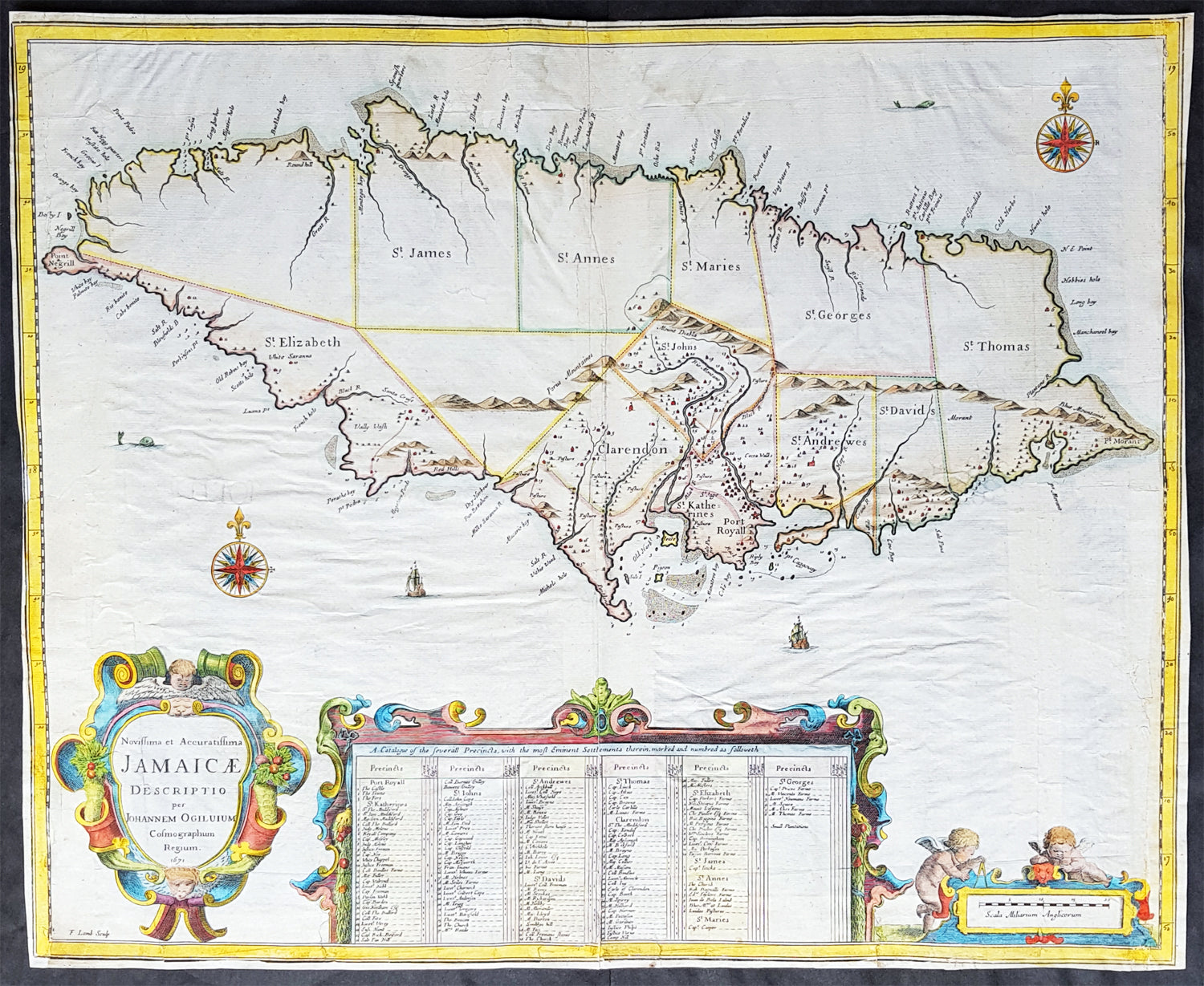 1671 John Ogilby 1st Antique English map of The Island of Jamaica ...