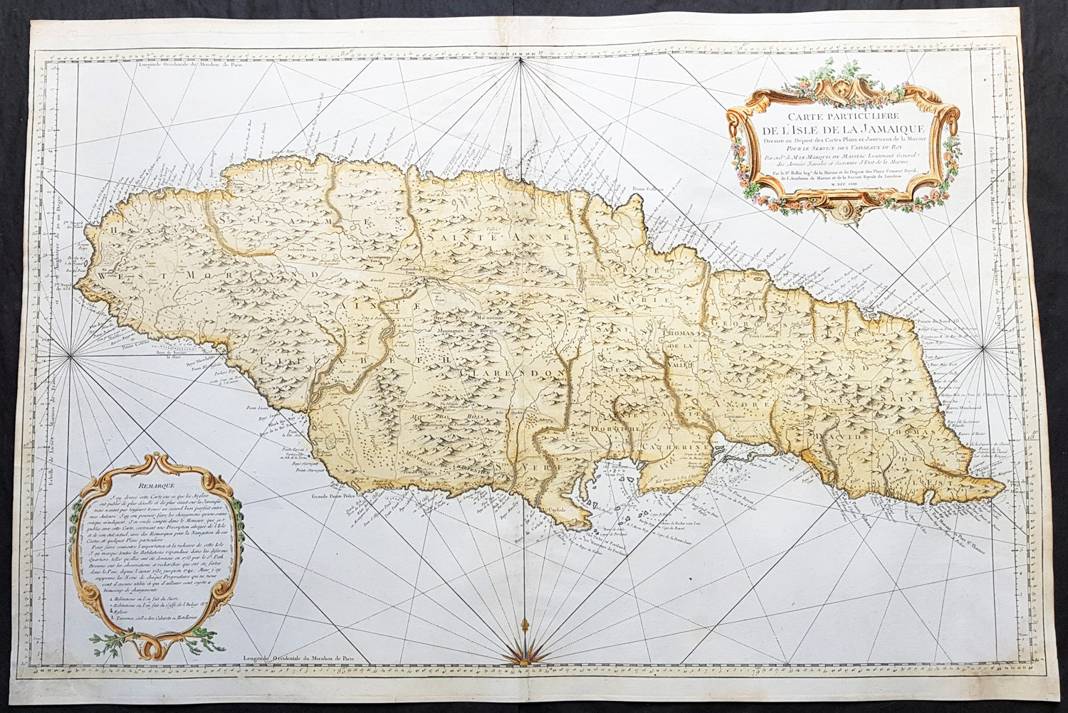 1758 J N Bellin Large Antique Map of The Caribbean Island of Jamaica Carribean Island Map on