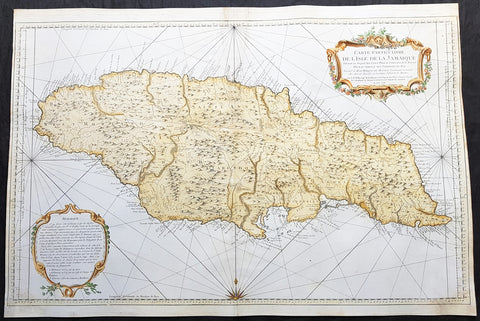1758 J N Bellin Large Antique Map of The Caribbean Island of Jamaica