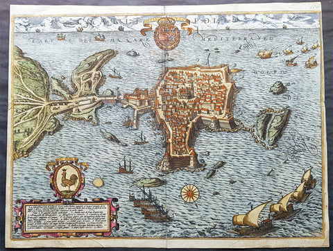 1598 Braun & Hogenberg Antique Map View Old Town of Gallipoli Apulia South Italy