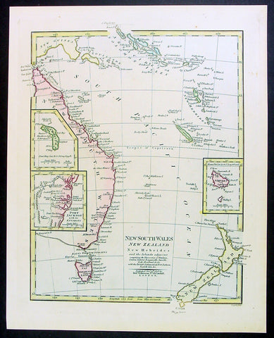 1808 Wilkinson Antique Map of East Coast of Australia, New Zealand, inset Sydney