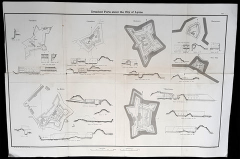 1856 Capt Delafield Large Antique Schematics Forts City of Lyons, France