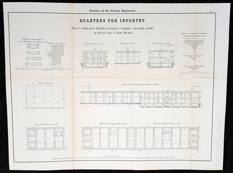 1856 Capt Delafield Large Antique Schematics French Infantry Barracks & Quarters