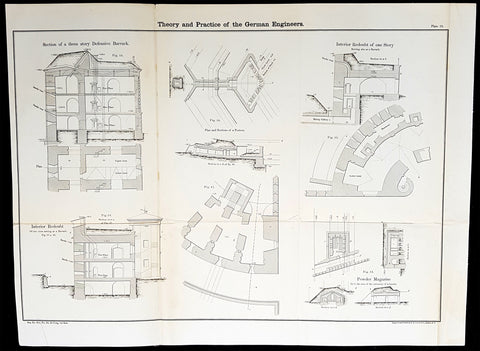 1856 Cap Richard Delafield Large Antique Schematics German Fortifications