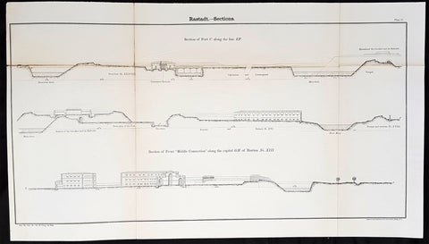 1856 Cap Richard Delafield Large Antique Print Fortifications of Rastatt Germany