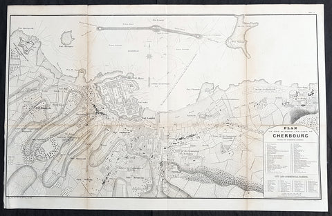 1856 Major Delafield Large Antique Map of The Harbor & City of Cherbourg, France