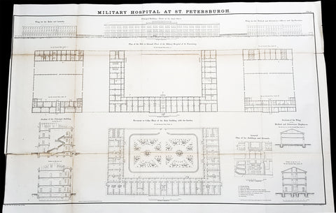 1856 Delafield Antique Architectural Plan SM Kirov Medical Academy St Petersburg