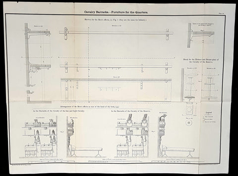 1856 Capt Delafield Large Antique Schematics Internal Calvary Barracks, Quarters