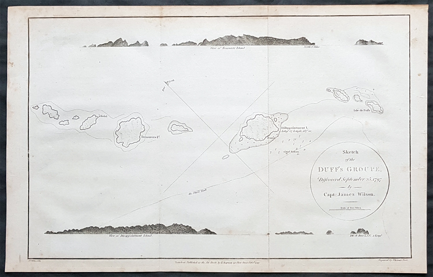 1797 Wilson Large Antique Map of the Duff Isles, Solomon Islands, South  Pacific