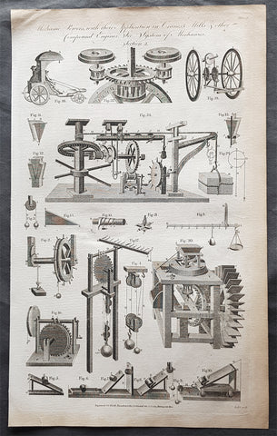 1798 W H Hall Large Antique Print of Drive Trains Cogs Pulleys for Cranes, Mills