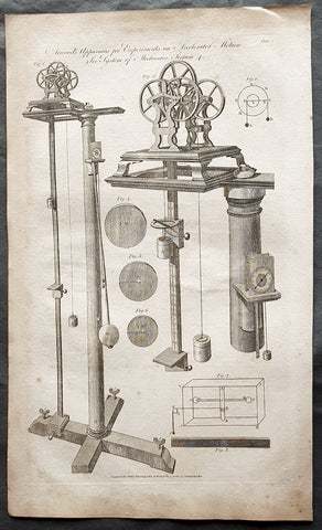 1798 W H Hall Large Antique Print of Atwood's Machine, Mechanical Laws of Motion