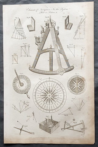 1798 W H Hall Large Antique Print Various 18th century Navigational Instruments