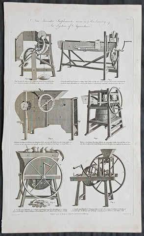 1794 William Hall Antique Print Newly Invented Farm machinery Thrashing Machines