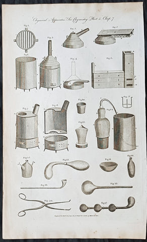 1798 William Hall Antique Print of Chemistry Ovens, Apparatus, Stills, Forceps