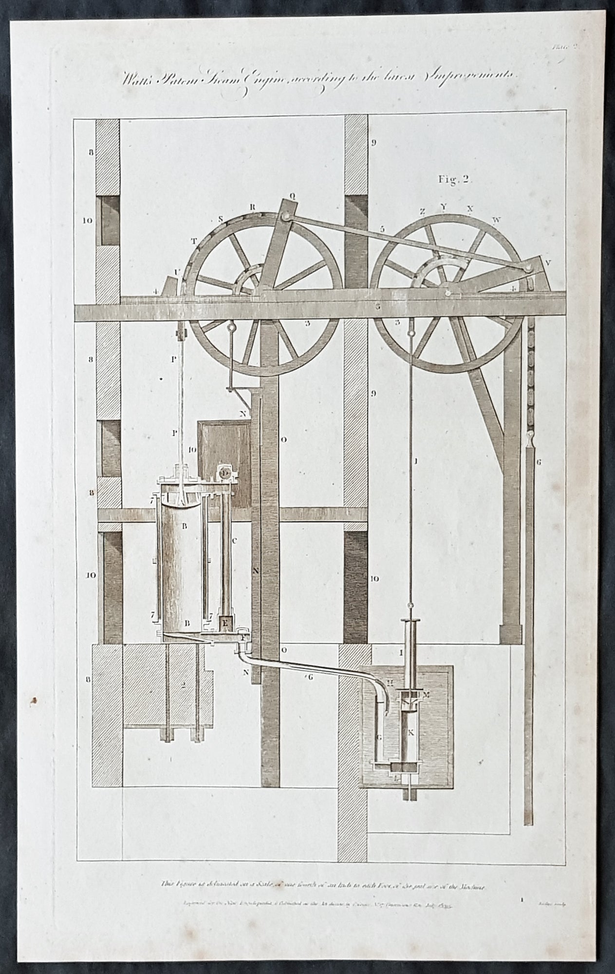 1795 William Hall Antique Print Diagram of The Watts Steam Engine in 1795