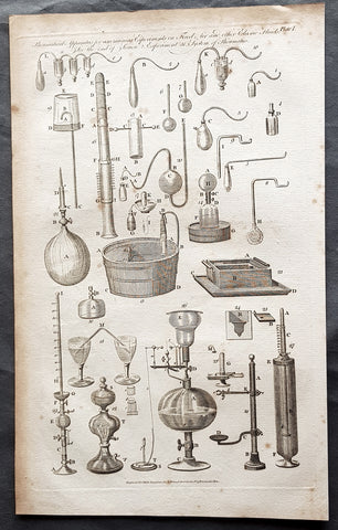 1798 W H Hall Large Antique Print of Various Pneumatic Air & Fluid Equipment