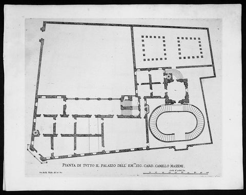 1665 De Rossi Original Antique Architectural Plan, Print of Cardinal Massimi Palace, Rome