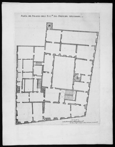 1665 De Rossi Original Antique Architectural Plan, Print of the Giustiniani Palace in Venice, Italy