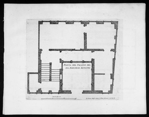 1665 De Rossi Original Antique Architectural Plan, Print of Silvestri Palace Milan, Italy