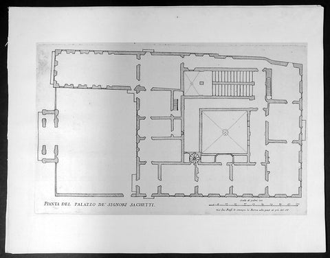1665 De Rossi Original Antique Architectural Plan, Print of Sachetti Palace Rome, Italy