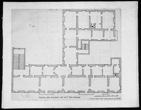 1665 De Rossi Original Antique Architectural Plan, Print of Falconieri Palace, Rome, Italy