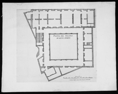 1665 De Rossi Original Antique Architectural Plan, Print of Santo Spirito Palace Florence