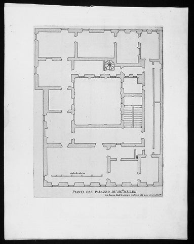 1665 De Rossi Original Antique Architectural Plan, Print of Millini Palace, Rome, Italy
