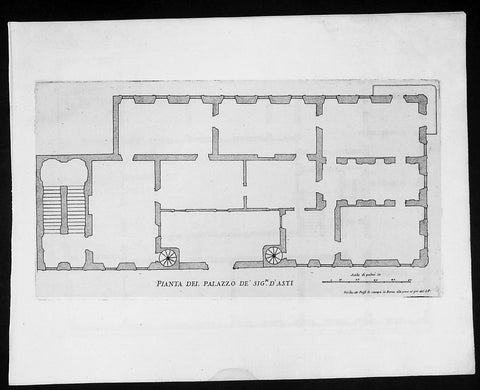 1665 De Rossi Original Antique Architectural Plan, Print of Alfieri, Asti Palace Monferrato, Italy