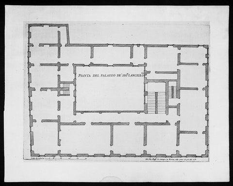 1665 De Rossi Original Antique Architectural Plan, Print of Lancellotti Palace, Rome Italy