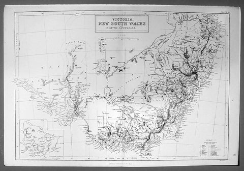 1844 Hughes Antique Australian Map of the States of Victoria & NSW