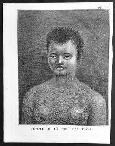 1778 Capt. Cook Antique Print Portrait of a Woman of New Caledonia Visit in 1774