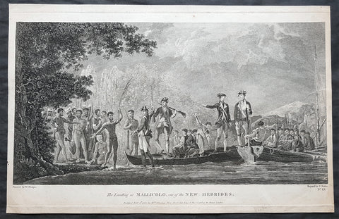 1780 Cook Basire Large Antique Print of Capt. James Cooks Men Landing in Vanuatu