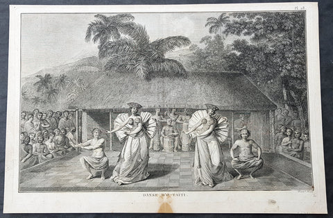 1785 Capt Cook Antique Print of Dancers in Tahiti, French Polynesia in 1777