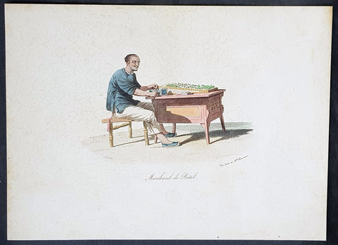 1825 W. Alexander & Malpiere Antique Print of a Chinese Hawker, Betel Nut Seller