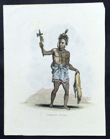 1824 Kelly Old, Antique Print of a North American Indian in War Dress & Tomahawk