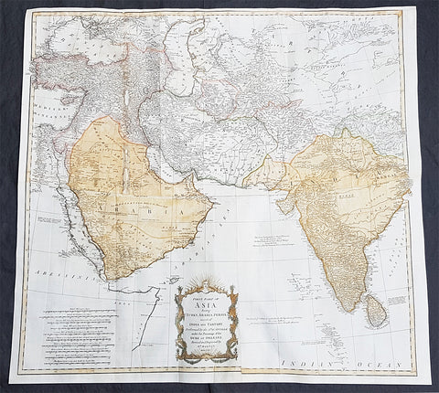 1755 D Anville & Bolton Large Antique Map of Asia, Turkey, Saudi Arabia, India