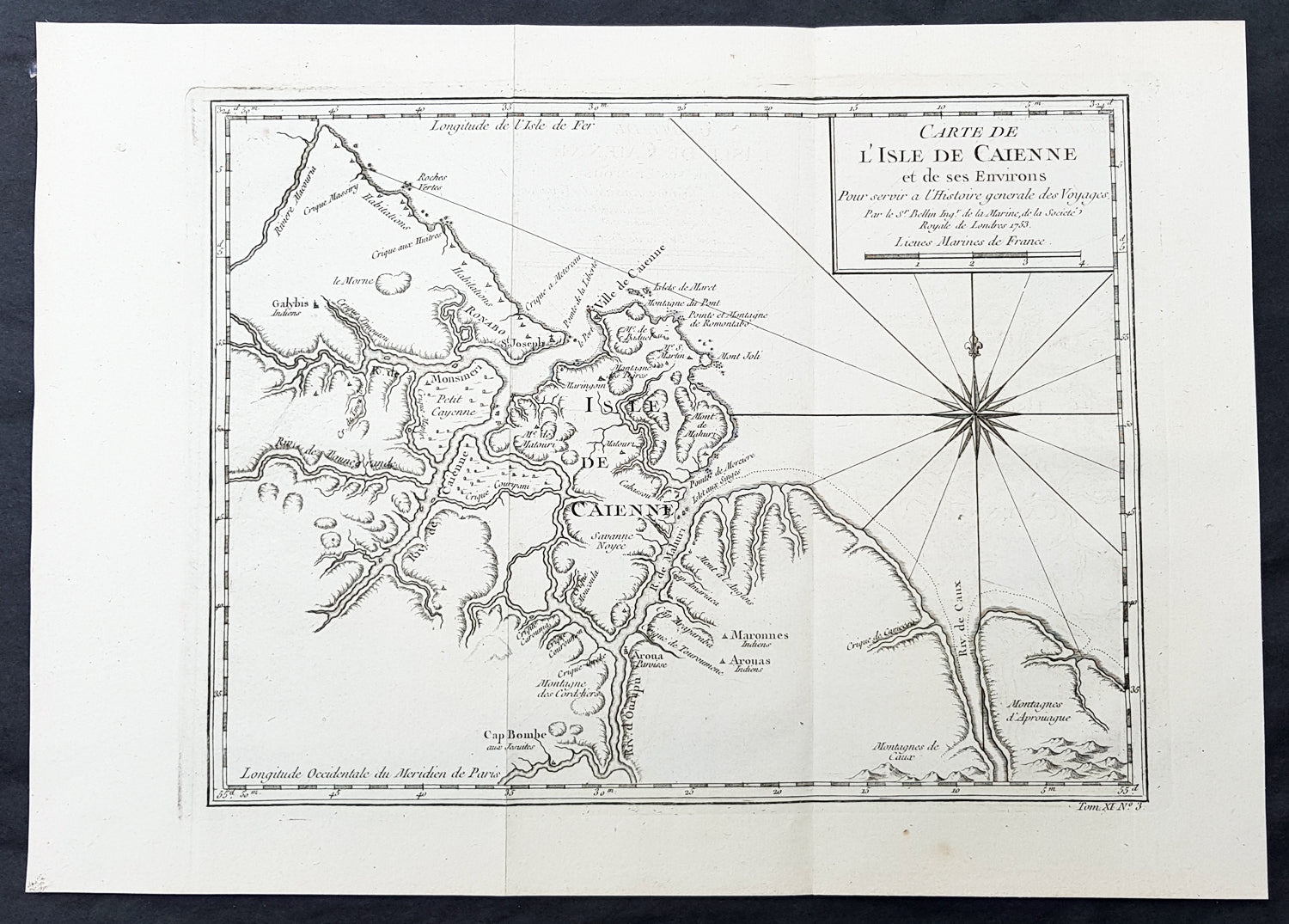 1753 Bellin Antique Map of The Island of Cayenne French Guyana