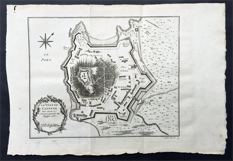 1753 Bellin Antique Map Plan of the City of Cayenne French Guyana, South America